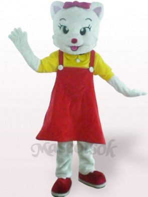 Red Female Cat Plush Adult Mascot Costume