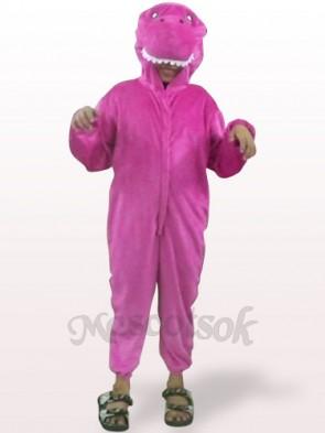 Shinny Purple Dinosaur Open Face Kids Plush Mascot Costume