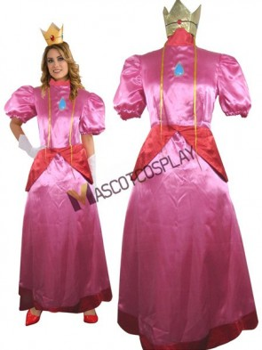 Super Mario Bros Princess Toadstool Peach Satin Cosplay Costume
