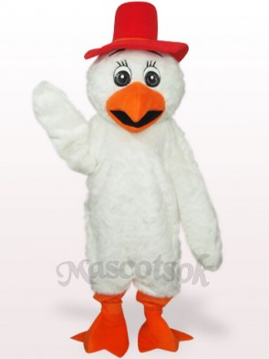 White Long Hair Cowboy Chicken Plush Adult Mascot Costume