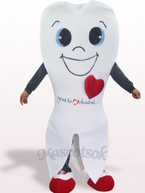 White Tooth Plush Adult Mascot Costume