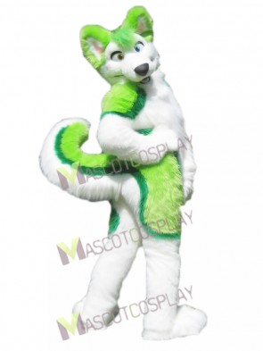 Green and White Husky Fursuit Mascot Costume