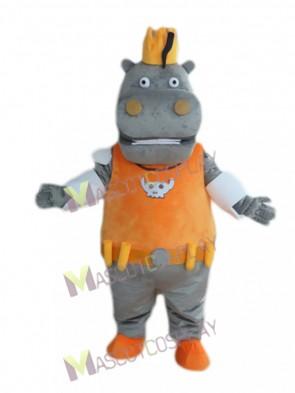 Gray Hippo Hippopotamus King in Orange Vest Mascot Costume