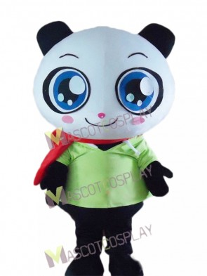 Cartoon Panda Bear in Green Shirt Mascot Costume