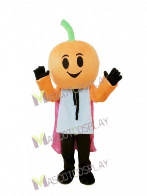 Pumpkin Man with Cape Halloween Mascot Costume