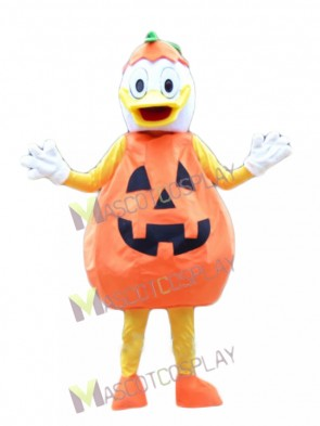 Orange Jack-o-Lantern Pumpkin Donald Duck Halloween Mascot Costume
