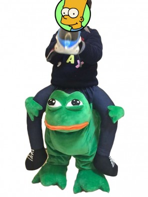 For Children/ Kids Piggyback Carry Me Ride on Crazy Green Frog Mascot Costumes Christmas Xmas