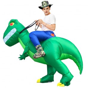 T-Rex Carry me Ride on Inflatable Costume Dinosaur with Big Teeth Blow up Jumpsuit for Adult/Kid