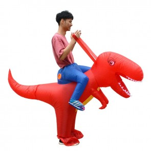 Red Dinosaur with Big Head Carry me Ride on Inflatable Costume Halloween Christmas for Adult/Kid