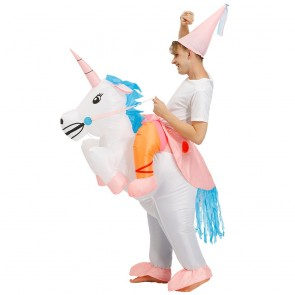 Unicorn with Pink Corn Carry me Ride on Inflatable Costume Jumpsuit for Adult/Kid