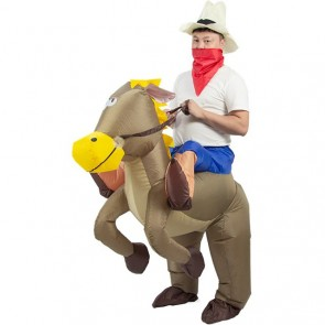 Brown Horse Carry me Ride on Inflatable Costume Halloween Xmas for Adult/Kid