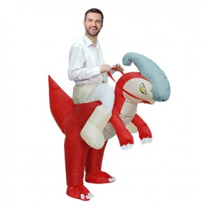 Parasaurolophus Dinosaur Carry me Ride on Inflatable Costume Halloween Christmas Costume for Adult/Kid
