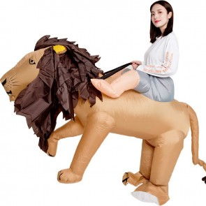 Brown Lion Carry Me Ride on Inflatable Costume Fancy Dress Cosplay Costume