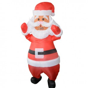Santa Claus with White Belt Inflatable Costume Halloween Christmas Costume for Adult