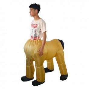 Yellow Centaur Half-man Half-horse Inflatable Costume Halloween Christmas Holiday Costume for Adult