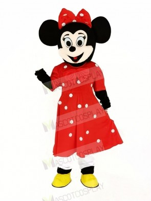 Minnie Mouse with Red Dress Mascot Costume Cartoon