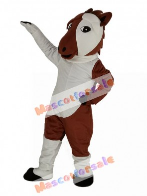 Brown and White Horse Mascot Costume