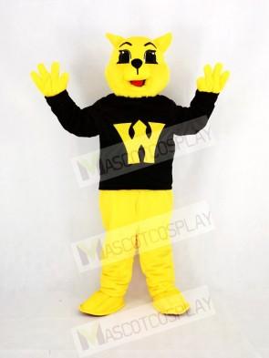 Yellow Wildcat in Black Coat Mascot Costume Animal