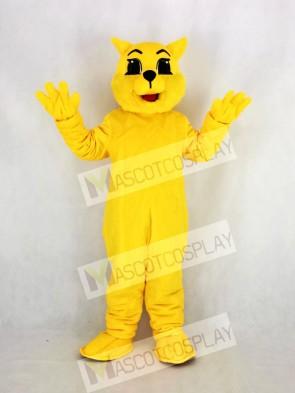 Yellow Wildcat Mascot Costume Cartoon