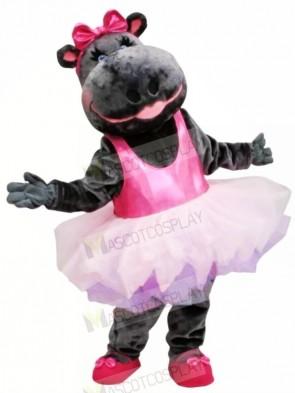 Pink Skirt Ballerina Hippo Mascot Costume Animal