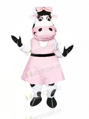 Beautiful Cow with Pink Dress Mascot Costumes Animal
