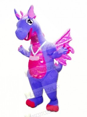 Blue Dragon with Purple Wings Mascot Costumes
