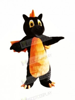 Black Dragon with Orange Wings Mascot Costumes Animal