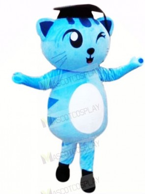 Winking Blue Cat Mascot Costumes Animal