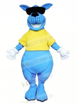 Smiling Blue Kangaroo Mascot Costumes Animal