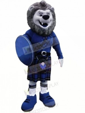 Grey Lion with Blue Suit Mascot Costumes Animal