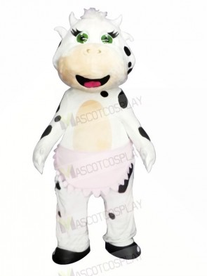 Cute White Cow Mascot Costumes Animal