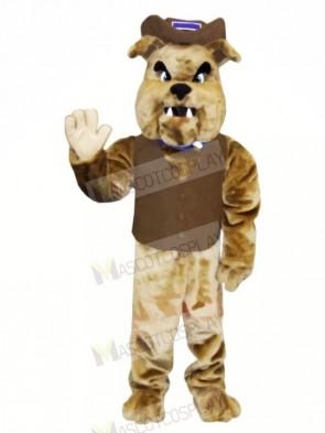Brown Bulldog with Vest Mascot Costumes Animal