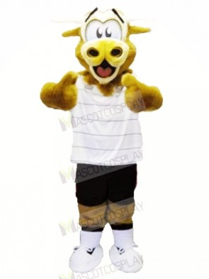 Brown Fluffy Cow with White T-shirt Mascot Costumes Animal