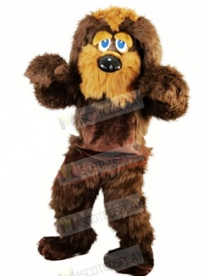 Brown Long Fur Dog Mascot Costumes Animal