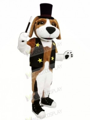 Brown and White Dog with Black Hat Mascot Costumes Animal