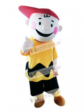 Charlie Brown Yellow T-shirt Boy with Red Hat Mascot Costume