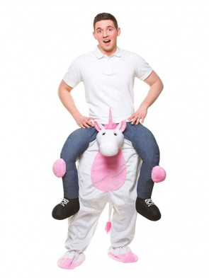 Piggy Back White Unicorn Carry Me Ride on Mascot Costumes Halloween Christmas