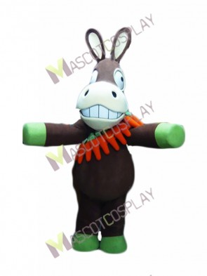 Brown Donkey with Carrots Mascot Costume