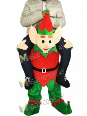 Piggyback Elf Carry Me Ride on Red Elf Mascot Costume
