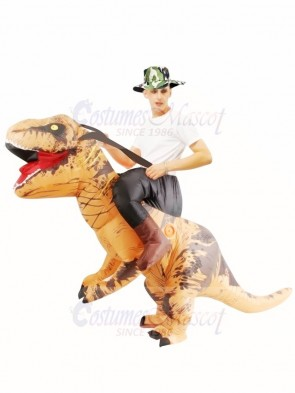 Brown Tyrannosaurus T-Rex Inflatable Carry Me Ride On Costume