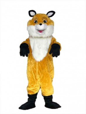 Yellow Fancy Fox Mascot Costume with White Chest