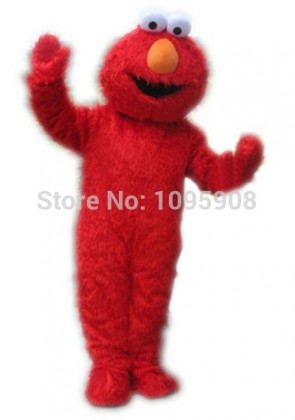 High Quality Long Fur Elmo Mascot Costume Sesame Street Cartoon Elmo Party Carnival Halloween Christmas Mascot