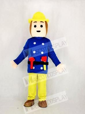 Realistic Fireman In Blue Mascot Costume Cartoon
