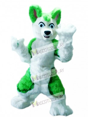 Green Husky Dog Adult Mascot Costume Animal