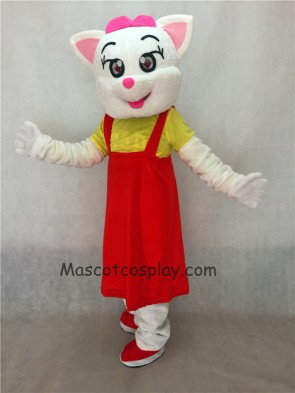 Red Female Cat with Red Dress Adult Mascot Costume