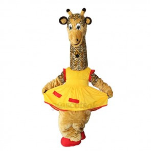 New Friendly Female Giraffe in Yellow Dress Mascot Costume