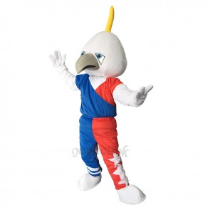 White Muscle Eagle Plush Adult Mascot Costume