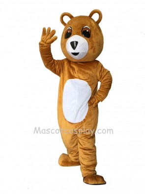 New Brown Bear White Belly Mascot Costume