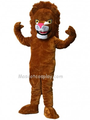 Cute Brown Power Cat Lion Mascot Costume