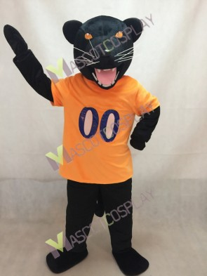 University of Pittsburgh Black Roc the Panther Puma Concolor Mascot Costume in Orange Vest